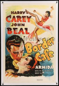 8x043 BORDER CAFE linen 1sh 1937 romantic art of cowboy John Beal about to kiss sexy Armida!