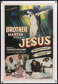 8x045 BROTHER MARTIN linen 1sh 1942 striking image of Jesus on cross, story of a negro who loved God!
