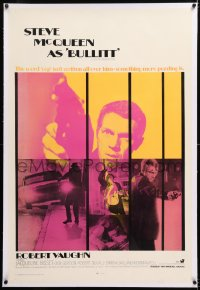 8x047 BULLITT linen int'l 1sh 1968 different Steve McQueen images, Yates car chase classic, rare!