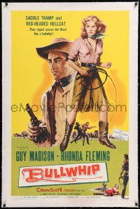 8x048 BULLWHIP linen 1sh 1958 saddle tramp Guy Madison & sexy red-headed hellcat Rhonda Fleming!