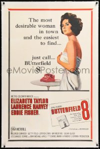 8x049 BUTTERFIELD 8 linen 1sh 1960 call girl Elizabeth Taylor is most desirable & easiest to find!