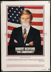 8x050 CANDIDATE linen 1sh 1972 great image of candidate Robert Redford blowing a bubble gum bubble!