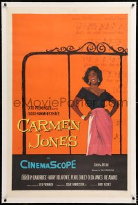 8x051 CARMEN JONES linen 1sh 1954 Otto Preminger, great art of sexy Dorothy Dandridge, Bizet opera!