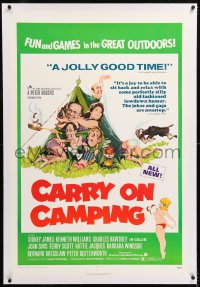 8x052 CARRY ON CAMPING linen 1sh 1971 Sidney James, English nudist sex, wacky Fratini outdoors art!