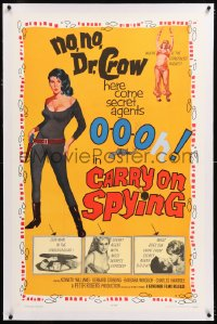 8x054 CARRY ON SPYING linen 1sh 1964 English spy spoof w/sexy agent O-O-Oh!, most secrets exposed!