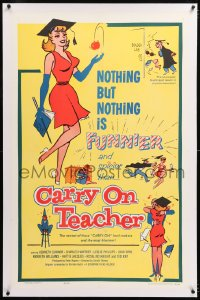 8x055 CARRY ON TEACHER linen 1sh 1962 Kenneth Connor, Charles Hawtrey, English, sexy comic art!