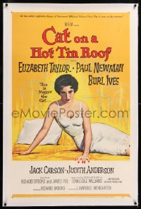 8x056 CAT ON A HOT TIN ROOF linen 1sh 1958 classic artwork of Elizabeth Taylor as Maggie the Cat!