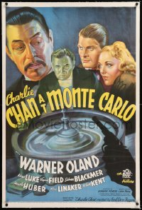 8x058 CHARLIE CHAN AT MONTE CARLO linen 1sh 1937 stone litho of Warner Oland & roulette wheel, rare!
