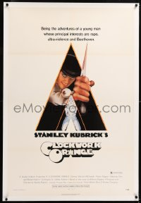 8x061 CLOCKWORK ORANGE linen X-rated 1sh 1972 Stanley Kubrick, Castle art of Malcolm McDowell!