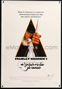 8x060 CLOCKWORK ORANGE linen R-rated 1sh 1972 Stanley Kubrick classic, Castle art of Malcolm McDowell!
