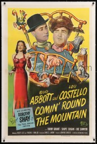 8x064 COMIN' ROUND THE MOUNTAIN linen 1sh 1951 hillbillies Bud Abbott, Lou Costello & Dorothy Shay!