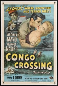 8x066 CONGO CROSSING linen 1sh 1956 Peter Lorre pointing gun at Virginia Mayo & George Nader!