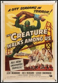 8x067 CREATURE WALKS AMONG US linen 1sh 1956 Reynold Brown art of monster over Golden Gate Bridge!