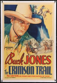 8x068 CRIMSON TRAIL linen 1sh 1935 incredible art of Buck Jones c/u & riding horse, ultra rare!
