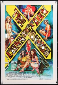 8x071 DANISH CONNECTION linen 1sh 1974 John Holmes as Johnny Wadd, sexploitation, wild different art!