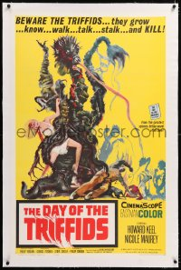 8x072 DAY OF THE TRIFFIDS linen 1sh 1962 classic English sci-fi horror, cool art of monster w/girl!
