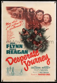 8x074 DESPERATE JOURNEY linen 1sh 1942 Errol Flynn & Ronald Reagan crash-land during World War II!