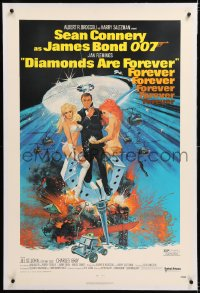 8x075 DIAMONDS ARE FOREVER linen 1sh 1971 Robert McGinnis art of Sean Connery as James Bond 007!