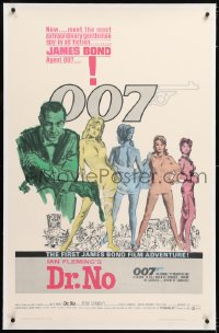 8x077 DR. NO linen 1sh 1963 Sean Connery is most extraordinary gentleman spy, first James Bond 007!