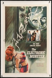 8x081 ELECTRONIC MONSTER linen 1sh 1960 Rod Cameron, artwork of sexy girl shocked by electricity!
