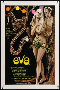 8x083 EVA linen 1sh 1969 sexy art of Adam & Eve w/snake, the facts of life & love, West German!