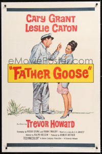 8x084 FATHER GOOSE linen 1sh 1965 art of pretty Leslie Caron laughing at sea captain Cary Grant!