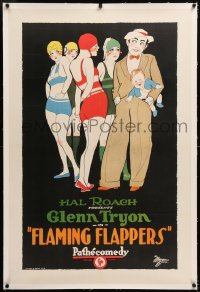 8x086 FLAMING FLAPPERS linen 1sh 1925 Hal Roach, art of Tryon holding baby w/4 skimpily clad girls!