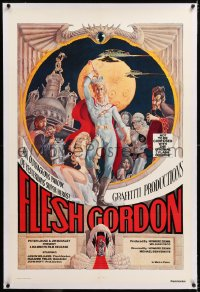 8x087 FLESH GORDON linen 1sh 1974 sexy sci-fi spoof, wacky erotic super hero art by George Barr!