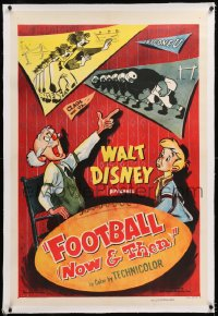 8x088 FOOTBALL NOW & THEN linen 1sh 1953 Walt Disney sports cartoon short, Dennis Day, ultra rare!