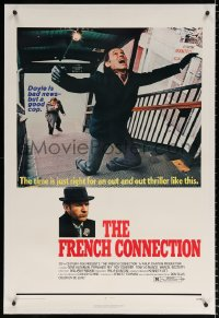8x090 FRENCH CONNECTION linen 1sh 1971 Gene Hackman in movie chase, directed by William Friedkin!