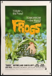 8x091 FROGS linen 1sh 1972 great art of man-eating amphibian, today the pond - tomorrow the world!