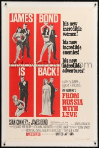 8x092 FROM RUSSIA WITH LOVE linen style B 1sh 1964 Sean Connery as Ian Fleming's James Bond is back!