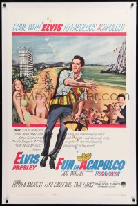 8x093 FUN IN ACAPULCO linen 1sh 1963 Elvis Presley in fabulous Mexico with sexy Ursula Andress!