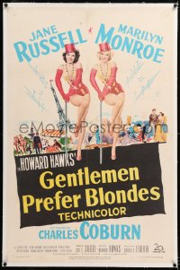 8x094 GENTLEMEN PREFER BLONDES linen 1sh 1953 art of super sexy Marilyn Monroe & Jane Russell!