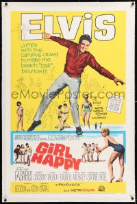 8x095 GIRL HAPPY linen 1sh 1965 great image of Elvis Presley dancing, Shelley Fabares, rock & roll!