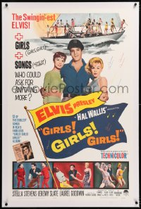 8x096 GIRLS GIRLS GIRLS linen 1sh 1962 Elvis Presley, Stella Stevens & boat full of sexy girls!