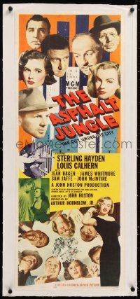 8x014 ASPHALT JUNGLE linen insert 1950 best poster on this classic title, Marilyn Monroe shown twice!