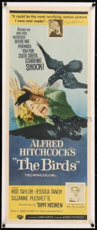 8x015 BIRDS linen insert 1963 Alfred Hitchcock shown, introducing Tippi Hedren, classic attack art!
