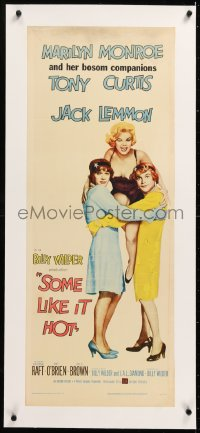 8x018 SOME LIKE IT HOT linen insert 1959 sexy Marilyn Monroe, Tony Curtis & Jack Lemmon in drag!