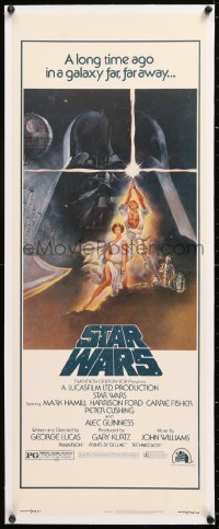 8x019 STAR WARS linen insert 1977 George Lucas classic sci-fi epic, iconic art by Tom Jung!