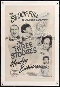 8x143 MONKEY BUSINESSMEN linen 1sh 1946 Three Stooges w/Curly & Moe Howard, Larry Fine, ultra rare!