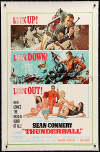 8x202 THUNDERBALL linen 1sh 1965 McGinnis & McCarthy art of Connery as Bond, uncropped tank style!