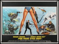 8y155 FOR YOUR EYES ONLY linen British quad 1981 Brian Bysouth art of Roger Moore as James Bond!