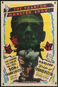8z170 SON OF FRANKENSTEIN/BRIDE OF FRANKENSTEIN 1sh 1948 Boris Karloff as the monster, ultra rare!