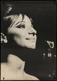 9c174 BARBRA STREISAND 29x42 commercial poster 1967 great close-up of Babs smiling near mic!