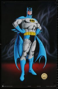 9c176 BATMAN 22x34 Canadian commercial poster 1989 full-length art of The Caped Crusader, smoke!