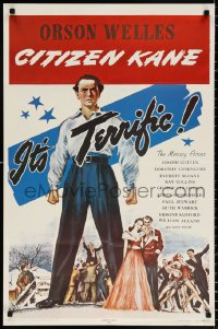 9c179 CITIZEN KANE 23x35 commercial poster 1971 some called Orson Welles a hero, others called him heel!