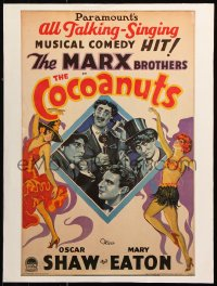 9c180 COCOANUTS 18x24 commercial poster 1980s art of all 4 Marx Brothers & sexy showgirls!