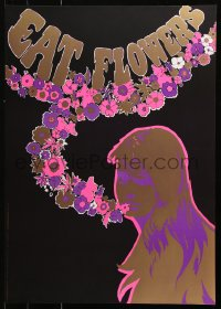 9c183 EAT FLOWERS 20x29 Dutch commercial poster 1960s psychedelic Slabbers art of woman & flowers!