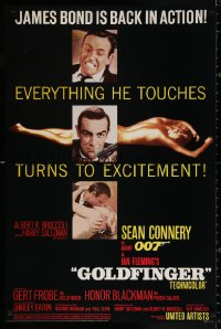 9c186 GOLDFINGER 24x36 commercial poster 1988 images of Connery as Bond & Eaton from one sheet!
